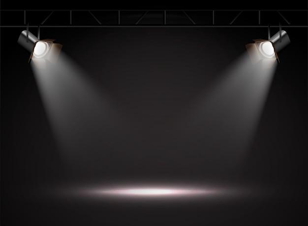 Realistische vector spotlichten in de duisternis.