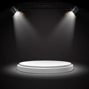 Realistische vector spotlichten op rond wit podium in de duisternis.