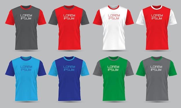 Realistische vector t-shirt sport vooraanzicht collectie set met tekst op grijze achtergrond afbeelding.