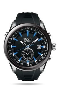 Realistische vector van klok horloge chronograaf grijs staal zwart dashboard gezicht wit nummer tekst blauw luxe elegantie