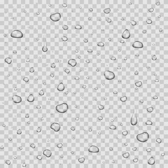 Realistische vector waterdruppels transparante achtergrond