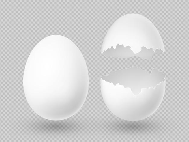 Realistische vector witte eieren met hele en gebroken shell geïsoleerd