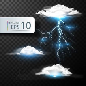 Realistische vector wolken en bliksem, donder