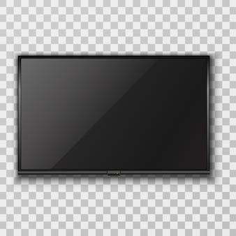 Realistische vector zwart scherm-tv die aan de muur hangt