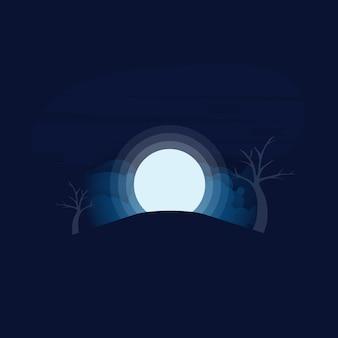 Realistische vectorachtergrond met volle maan