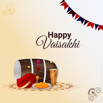Realistische vectorillustratie van gelukkige vaisakhi viering wenskaart met creatieve dhol