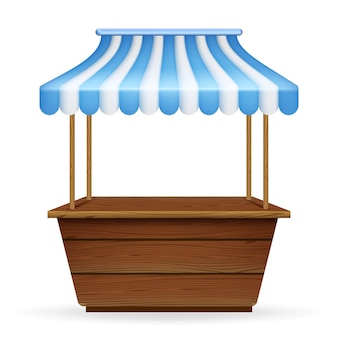 Realistische vectorillustratie van lege marktkraam met blauw en wit gestreepte luifel.