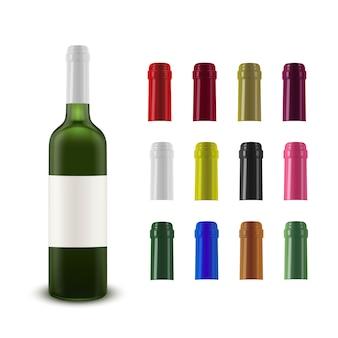 Realistische vectorindeling van een wijnfles en een wijncollectie van plastic kroonkurken van verschillende kleuren.