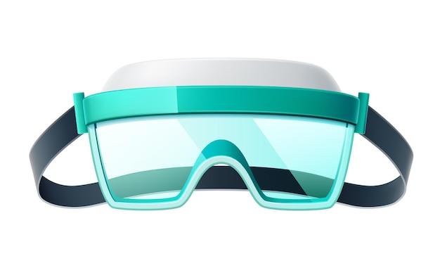 Realistische veiligheidsbril. bescherming tegen oogletsel voor gevaarlijk industrieel en medisch werk.