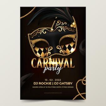 Realistische venetiaanse carnaval-poster