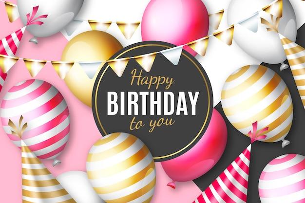 Realistische verjaardag achtergrond met ballonnen en feestmutsen
