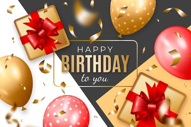 Realistische verjaardag achtergrond met ballonnen en geschenken