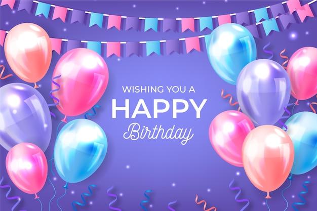 Realistische verjaardag achtergrond met ballonnen en slingers