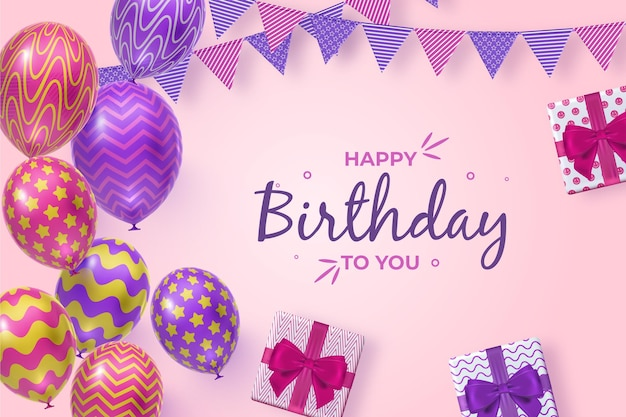 Realistische verjaardag achtergrond met ballonnen