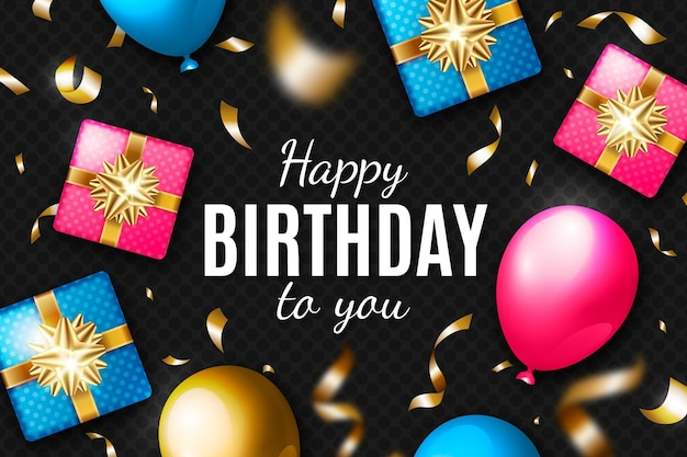 Realistische verjaardag achtergrond met geschenken en confetti