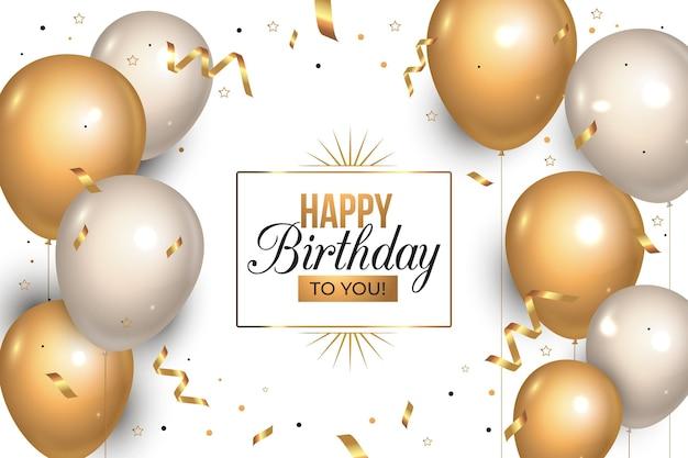 Realistische verjaardag achtergrond met gouden ballonnen