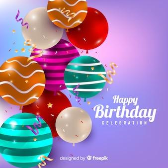 Realistische verjaardag met ballonnen achtergrond