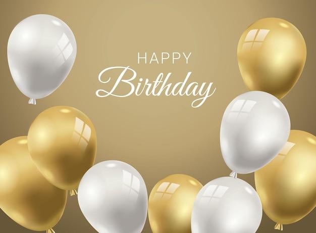 Realistische verjaardagsachtergrond met gouden ballonnen