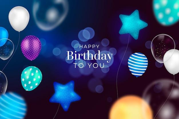 Realistische verjaardagsachtergrond met sterren en ballonnen