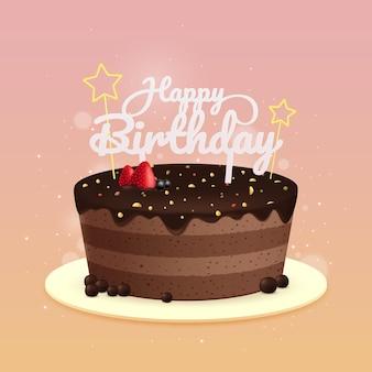 Realistische verjaardagstaart met topper