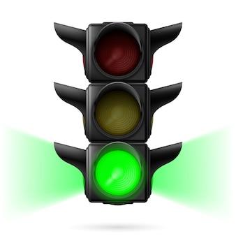 Realistische verkeerslichten met groene kleur en stadslicht. illustratie op witte achtergrond