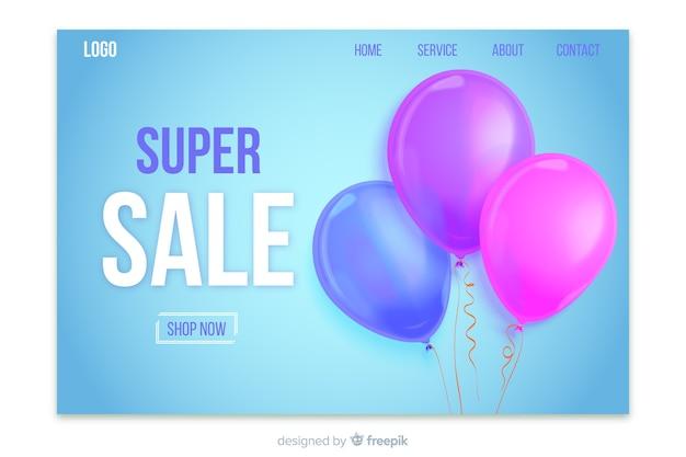 Realistische verkoop bestemmingspagina met ballonnen