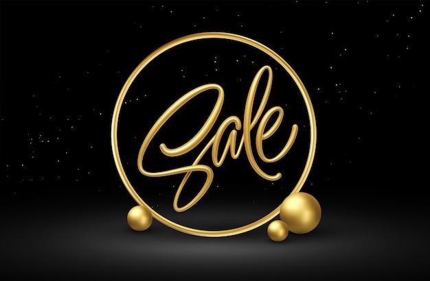 Realistische verkoop gouden letters met gouden decoratieve elementen op zwarte achtergrond.