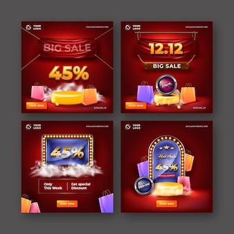 Realistische verkoop instagram-berichten