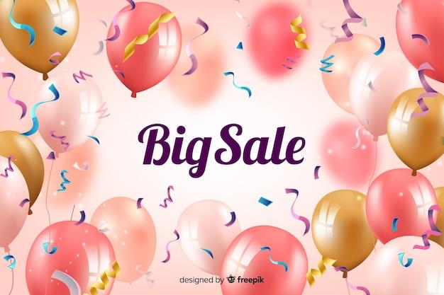 Realistische verkoopachtergrond met ballonnen