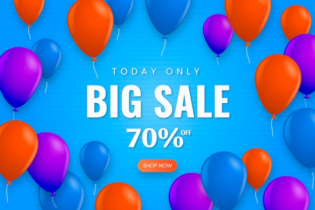 Realistische verkoopachtergrond met ballons