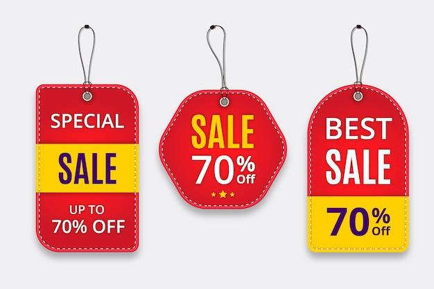 Realistische verkooplabelcollectie met hangers