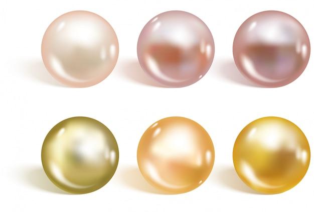 Realistische verschillende kleuren parels instellen.