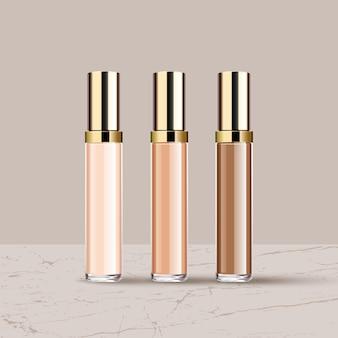 Realistische verschillende vloeibare lippenstiften