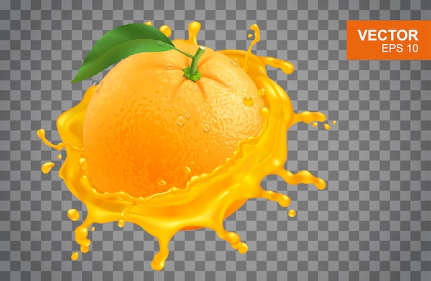 Realistische verse sinaasappel en splash van jus d'orange illustratie