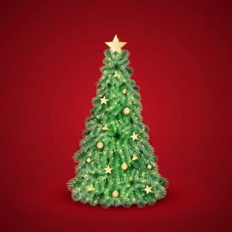 Realistische versierde kerstboom