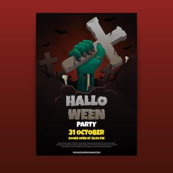Realistische verticale flyer-sjabloon voor halloween-feest