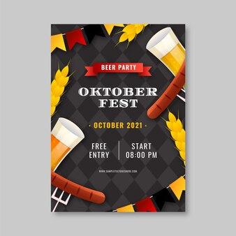Realistische verticale foldersjabloon voor oktoberfest