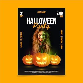 Realistische verticale postersjabloon voor halloween-feest met foto