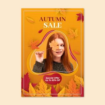 Realistische verticale postersjabloon voor herfstverkoop
