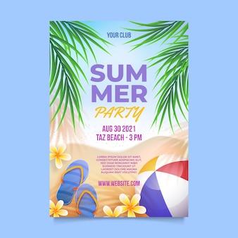 Realistische verticale zomer partij poster sjabloon