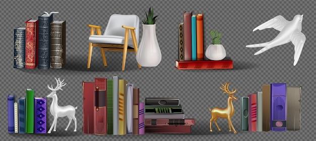 Realistische verzameling d-boeken met kleurrijke omslag mock up of books stack