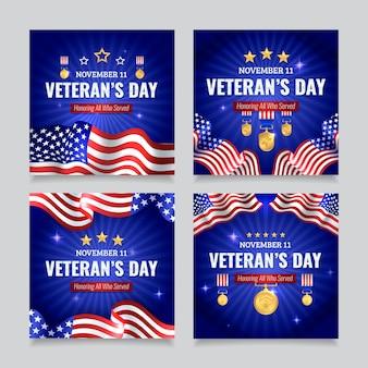 Realistische verzameling instagram-berichten voor veteranendag
