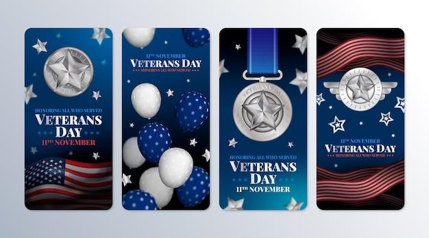 Realistische verzameling instagramverhalen voor veteranendag