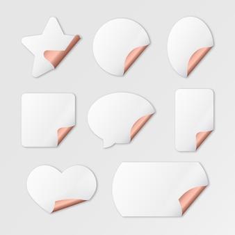 Realistische verzameling lege papieren stickers