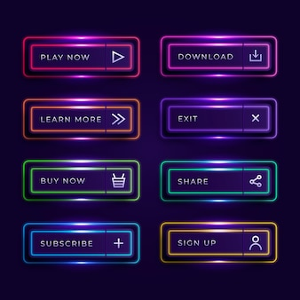 Realistische verzameling neon-oproep tot actieknoppen