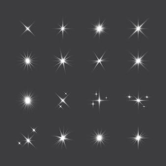 Realistische verzameling sprankelende sterren