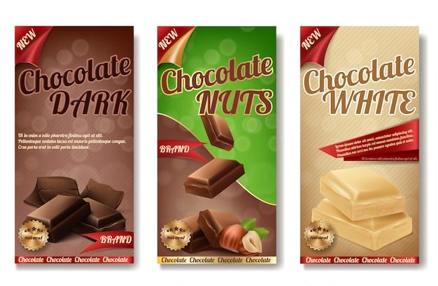 Realistische verzameling van chocoladeverpakkingen. etiketten van smakelijk product met noten