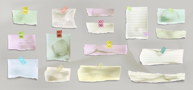 Realistische verzameling van gescheurd papier