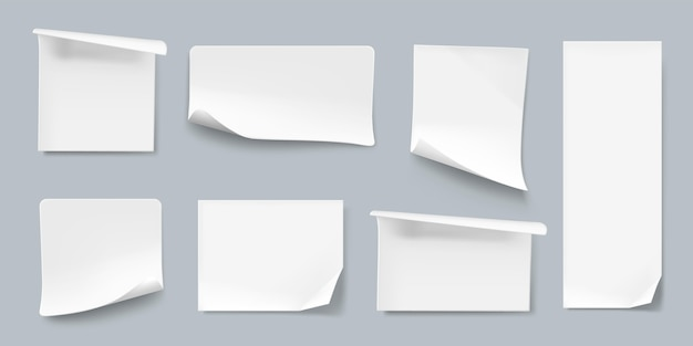 Realistische verzameling van papieren stickers