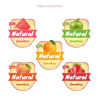 Realistische verzameling van voedseletiketten